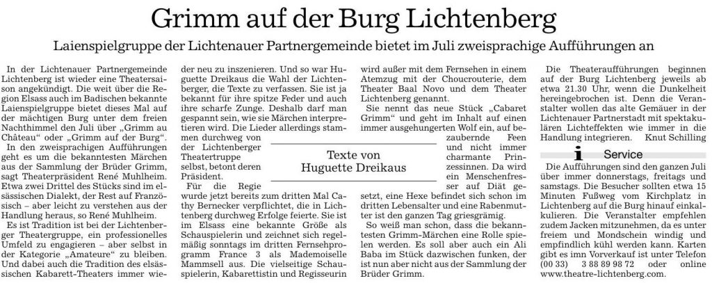 Grimm dans le Acher- und Büler- Bote